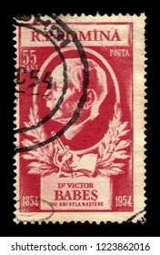 ROMANIA - CIRCA 1954: A stamp printed in Romania shows portrait of a romanian scientist and microbiologist Victor Babes (1854-1926), 100th birthday, circa 1954