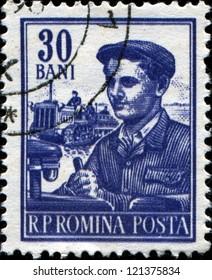 ROMANIA - CIRCA 1955: A stamp printed in Romania shows Tractor driver, series, circa 1955