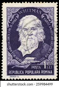 ROMANIA - CIRCA 1955: Stamp printed in Romania, shows Walt Whitman, circa 1955