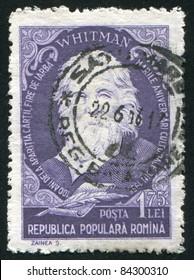 ROMANIA - CIRCA 1955: stamp printed by Romania, show Walt Whitman, circa 1955.