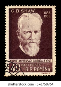 ROMANIA - CIRCA 1956: A stamp printed in Romania shows George Bernard Shaw (1856-1950) irish writer and playwright, circa 1956