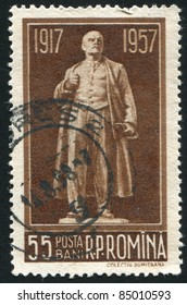 ROMANIA - CIRCA 1957: stamp printed by Romania, shows Lenin statue, circa 1957