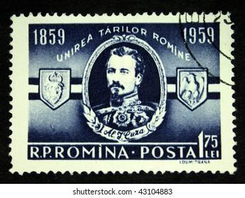 ROMANIA - CIRCA 1959: A stamp printed in Romania shows Alexander John Cuza, circa 1959