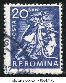 ROMANIA - CIRCA 1960: stamp printed by Romania, shows Miner with drill, circa 1960