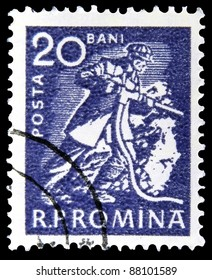 """ROMANIA- CIRCA 1960: A stamp printed in Romania shows Miner without inscription from the series """"Usual - economic activities"""", circa 1960"""
