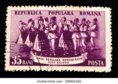 ROMANIA - CIRCA 1961: A stamp printed in Romania shows Dance, circa 1961