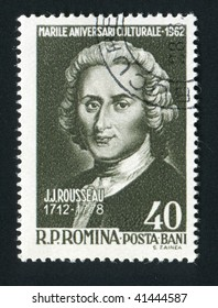 ROMANIA - CIRCA 1962: Jean Jacques Rousseau was a major French philosopher, writer, and composer of the eighteenth-century Enlightenment, circa 1962.