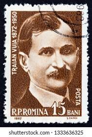 ROMANIA - CIRCA 1962: A stamp printed in Romania shows Traian Vuia, aviaton pioneer, circa 1962.