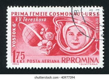 ROMANIA - CIRCA 1963: The first woman astronaut Valentine Tereshkova, circa 1963.