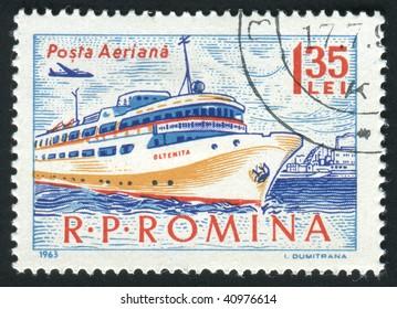 ROMANIA - CIRCA 1963: The seaport. Ancient Passenger ship, circa 1963.