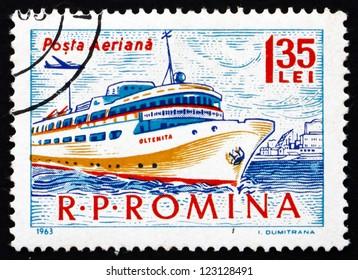 ROMANIA - CIRCA 1963: a stamp printed in the Romania shows Passenger Ship, circa 1963