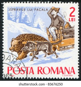 ROMANIA - CIRCA 1965: A stamp printed by Romania, shows a man hurrying a bear and a pig, circa 1965