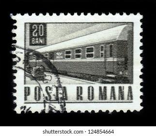 ROMANIA - CIRCA 1967: A stamp printed in Romania shows old train, circa 1967