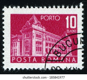 ROMANIA - CIRCA 1967: A stamp printed in Romania shows Central Post Office building (National museum of Romanian history now), circa 1967.