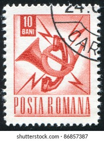 ROMANIA - CIRCA 1967:A stamp printed by Romania, shows Communications emblem, circa 1967