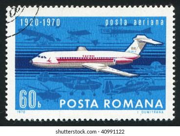 ROMANIA - CIRCA 1970: The flying plane an air mail symbol, circa 1970.