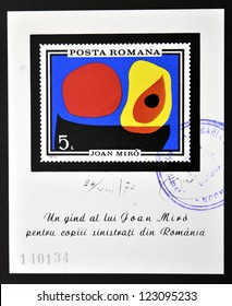ROMANIA - CIRCA 1970: stamp printed in Romania show Abstract by Joan Miro, circa 1970.