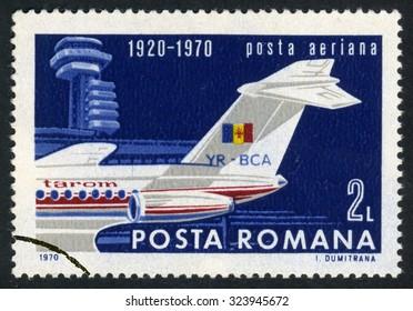 Romania - circa 1970: stamp printed by Romania, shows plane circa 1970