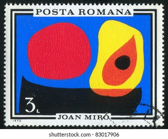 ROMANIA - CIRCA 1970: stamp printed by Romania, show Abstract, by Joan Miro, circa 1970.