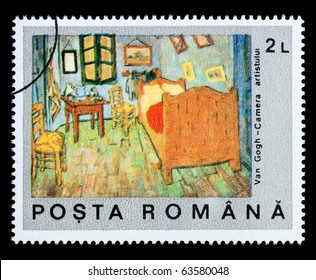 ROMANIA - CIRCA 1971: A postage stamp printed in Romania showing a painting by Vincent Van Gogh, circa 1971
