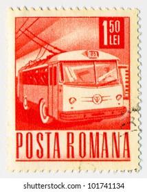 ROMANIA - CIRCA 1971: A stamp printed in Romania shows Trolley bus, circa 1971