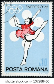 ROMANIA - CIRCA 1971: stamp printed by Romania, shows figure skater from winter olympics in Sapporo, circa 1971