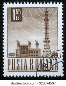 ROMANIA - CIRCA 1971: A stamp printed in Romania shows Radio station and tower, circa 1971