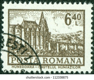 ROMANIA - CIRCA 1972: A stamp printed in Romania shows a Hunedoara Castle, circa 1972