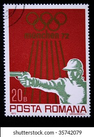 ROMANIA - CIRCA 1972: A stamp printed in Romania shows a man shooting, one stamp from series devoted to the Olympic Games in Munchen, circa 1972.