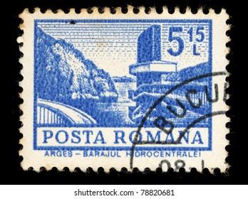 ROMANIA - CIRCA 1972: A stamp printed in Romania shows Barajul Hidrocentrale Arges, circa 1972