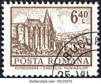"ROMANIA - CIRCA 1972: A stamp printed in Romania from the ""Definitives I - Buildings"" shows Hunedoara Castle, circa 1972."