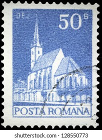 "ROMANIA - CIRCA 1973: A stamp printed in Romania shows Church in Dej, with the same inscription, from the series ""Buildings"", circa 1973"