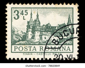 ROMANIA - CIRCA 1974: A stamp printed in Romania shows Sinaia Castle, circa 1974