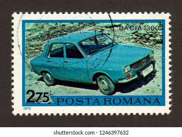ROMANIA - CIRCA 1975: A postage stamp printed in Romania shows a Dacia 1300 car.