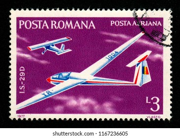 ROMANIA – CIRCA 1977: A stamp printed in Romania shows the image of an ICA IS-29D sailplane.