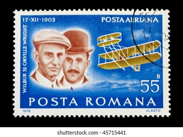 ROMANIA - CIRCA 1978: Mail stamp printed in Romania showing the Wright Brothers historic first powered aircraft flight, circa 1978
