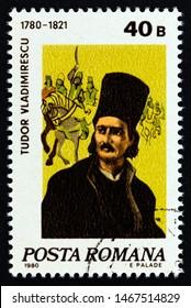 ROMANIA - CIRCA 1980: A stamp printed in Romania shows revolutionary hero Tudor Vladimirescu (1780-1821), circa 1980.