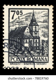 ROMANIA - CIRCA 1981: A stamp printed in Romania shows Brasov, The Black Church (Biserica Neagra), circa 1981