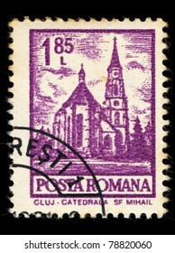 ROMANIA - CIRCA 1981: A stamp printed in Romania shows cluj, catedrala sf mihail, circa 1981