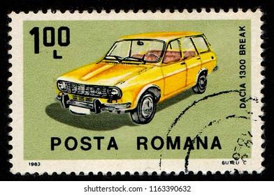 ROMANIA – CIRCA 1983: A stamp printed in Romania shows an image of Dacia 1300 Break.