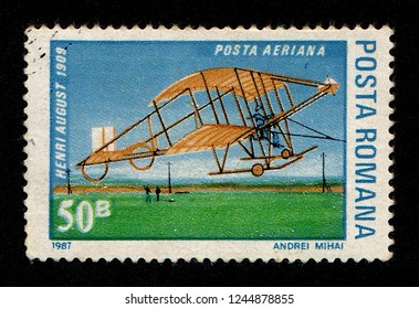 ROMANIA - CIRCA 1987: A postage stamp printed in Romania shows the 1909 Henri August sailplane.