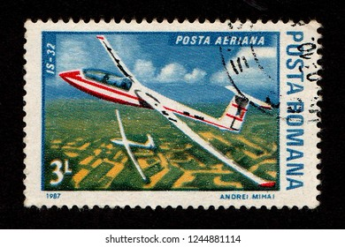 ROMANIA - CIRCA 1987: A postage stamp printed in Romania shows an IS-32 sailplane.