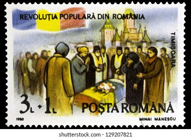 "ROMANIA - CIRCA 1990: A stamp printed in Romania, shows Funeral, with inscription ""Timisoara"", from the series ""First Anniversary of December 1989 Revolution"", circa 1990"