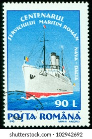 ROMANIA - CIRCA 1995: A stamp printed in Romania shows ship Dacia,circa 1995