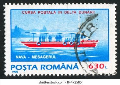 ROMANIA - CIRCA 1995: stamp printed by Romania, show steamship, circa 1995.