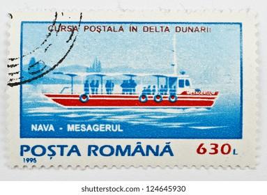 ROMANIA - CIRCA 1995: a stamp from Romania shows image of postal ship, circa 1995