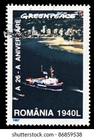 ROMANIA - CIRCA 1997: A stamp printed in Romania shows image of a ship, circa 1997