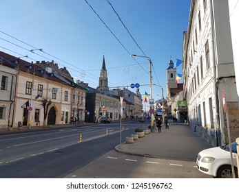 Romania, Cluj-Napoca - November 30, 2018. A view of the Church of St. Michael, from December 21 1989 Boulevard. The church is located in Unirii Square, the center of the old medieval city of Cluj.