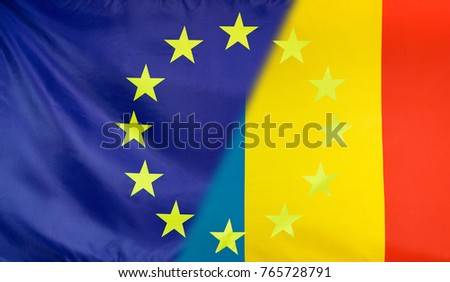 Romania and European Union relations concept with diagonally merged flags