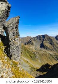 Romania, Fagaras Mountains, Acul Revolver Stone.